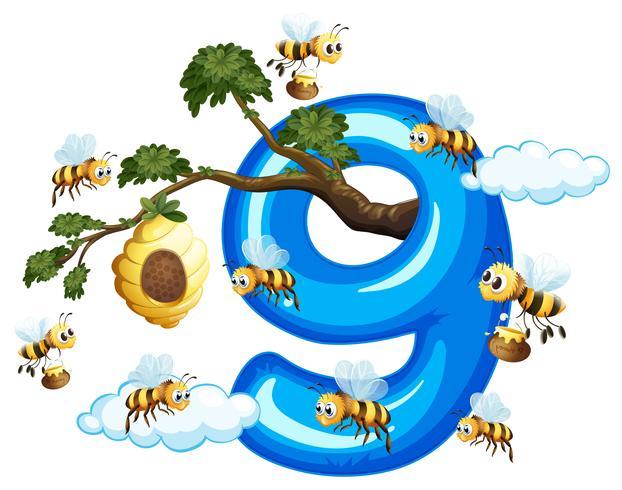 Nueve abejas con numero nueve