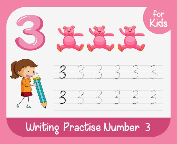 Number three tracing alphabet worksheets vector