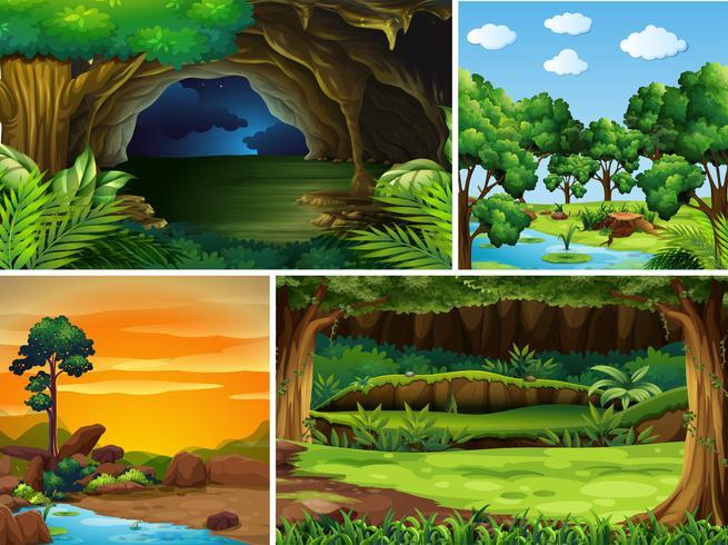 Fyra skogsscener vid olika tidpunkter på dagen