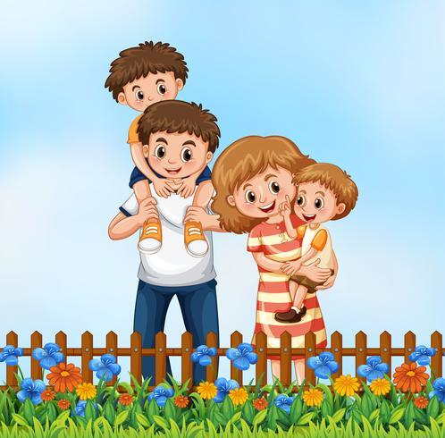 La famiglia felice nel fiore graden