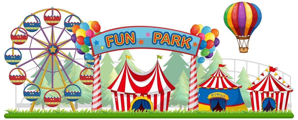 Uma vista colorida do parque de diversões