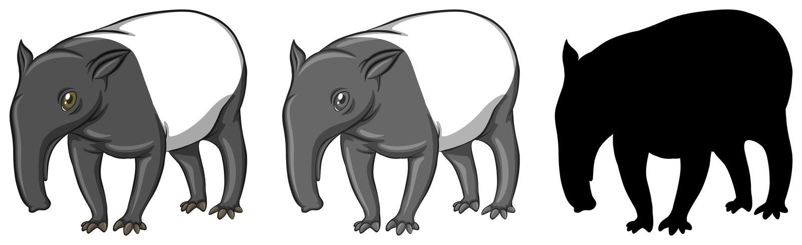 Set of tapir character
