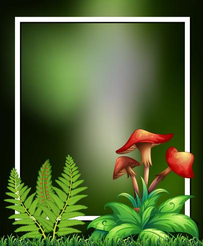 Natuurlijke planten en paddestoel groen frame