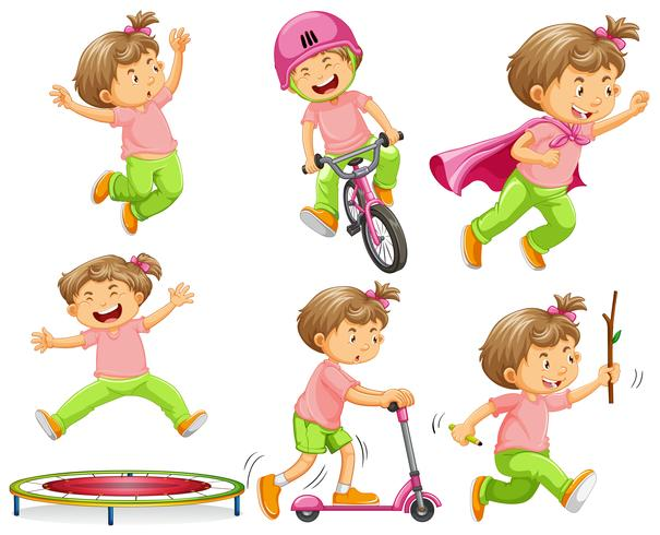 Girl playing with different equipments