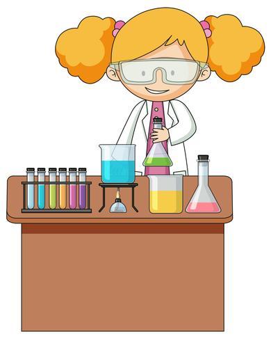 Menina, experiência, em, laboratório vetor