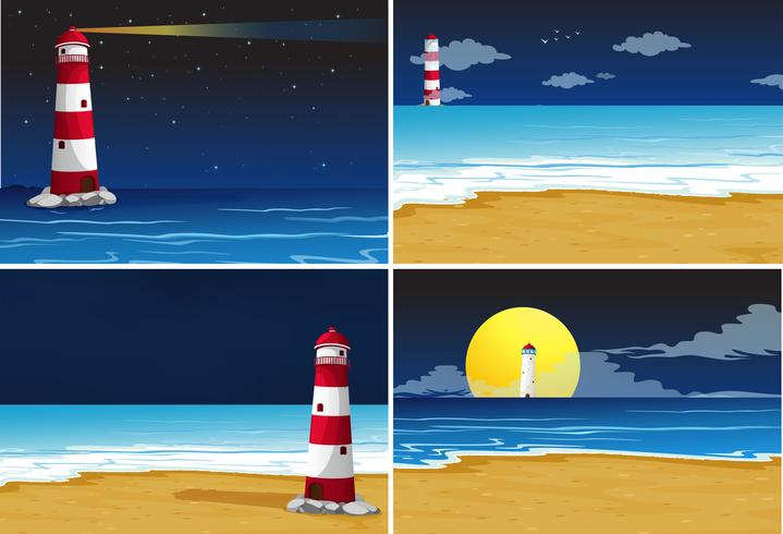 Four background scenes with lighthouse in the ocean