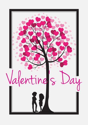 Modelo de cartão de dia dos namorados com árvore de coração vetor