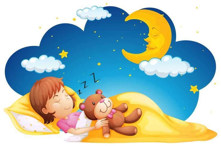 Niña durmiendo con teddybear vector
