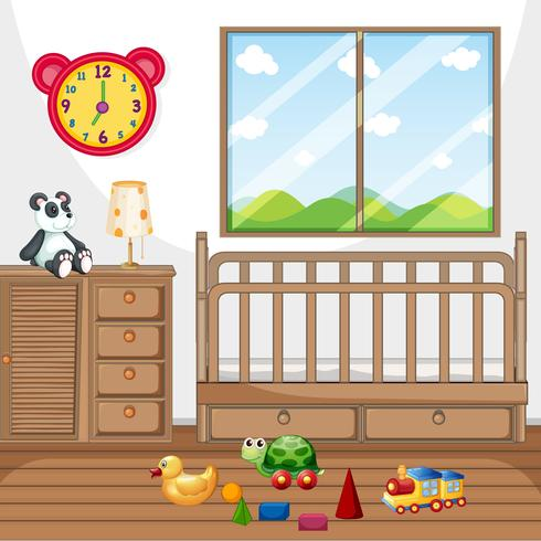 Child bedroom with wooden furniture