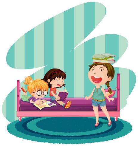 Tres niños leyendo libros en el dormitorio
