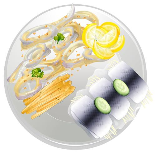 Een bord met zeevruchten maaltijd