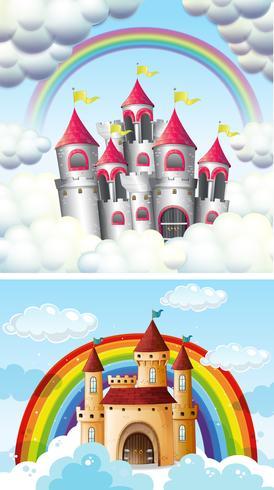 Um belo castelo de conto de fadas no céu