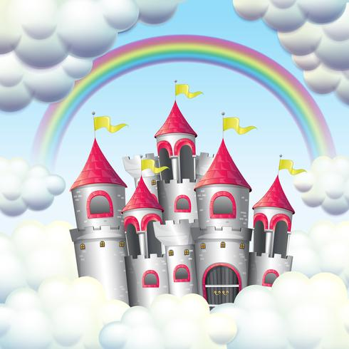 Un arco iris sobre el hermoso castillo