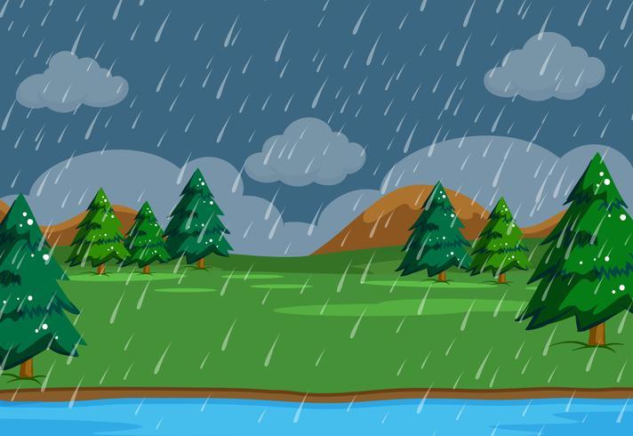 Un simplesso che piove scena in natura