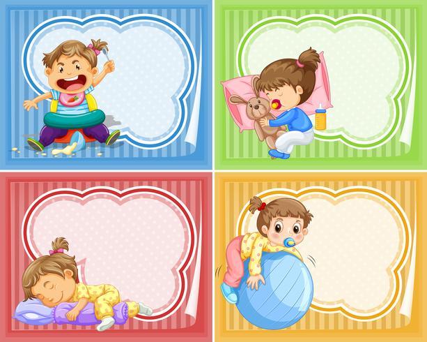 Quatre modèles de bannière avec des bébés