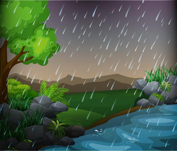 Natur scen med regnig dag i parken vektor