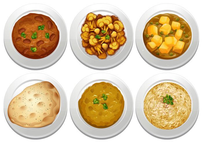 Repas indien sur fond blanc