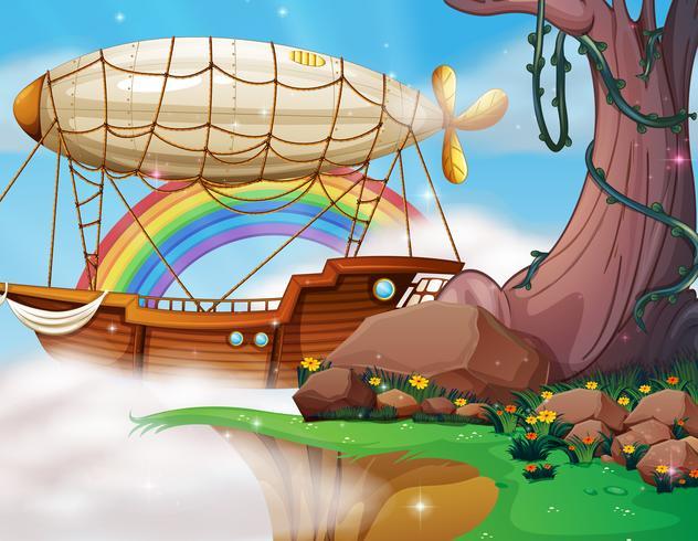 Dirigeable fantastique et scène de bateau