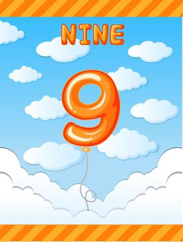 Number nine balloon on sky