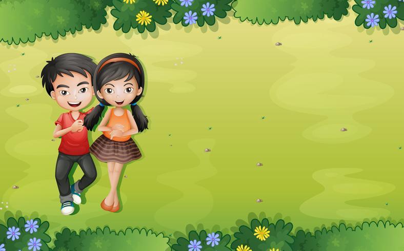 Un jeune couple à la vue aérienne du jardin