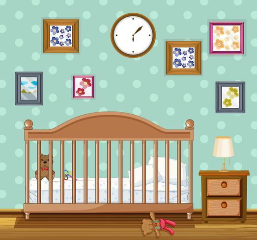 Sovrumscen med babycrib och björnar