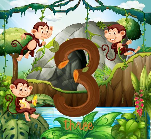 Tre scimmie nella giungla