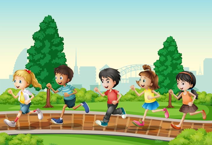 Children running in urban park