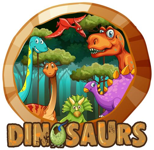 Sticker design with many dinosaurs in forest vector