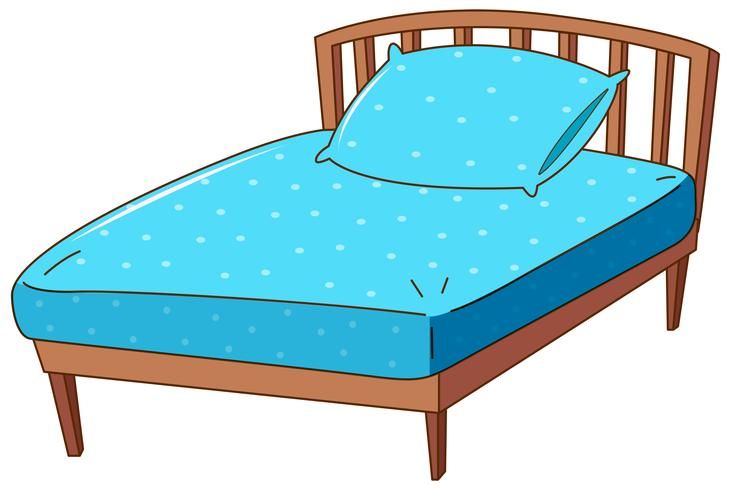 Letto con cuscino e lenzuolo blu