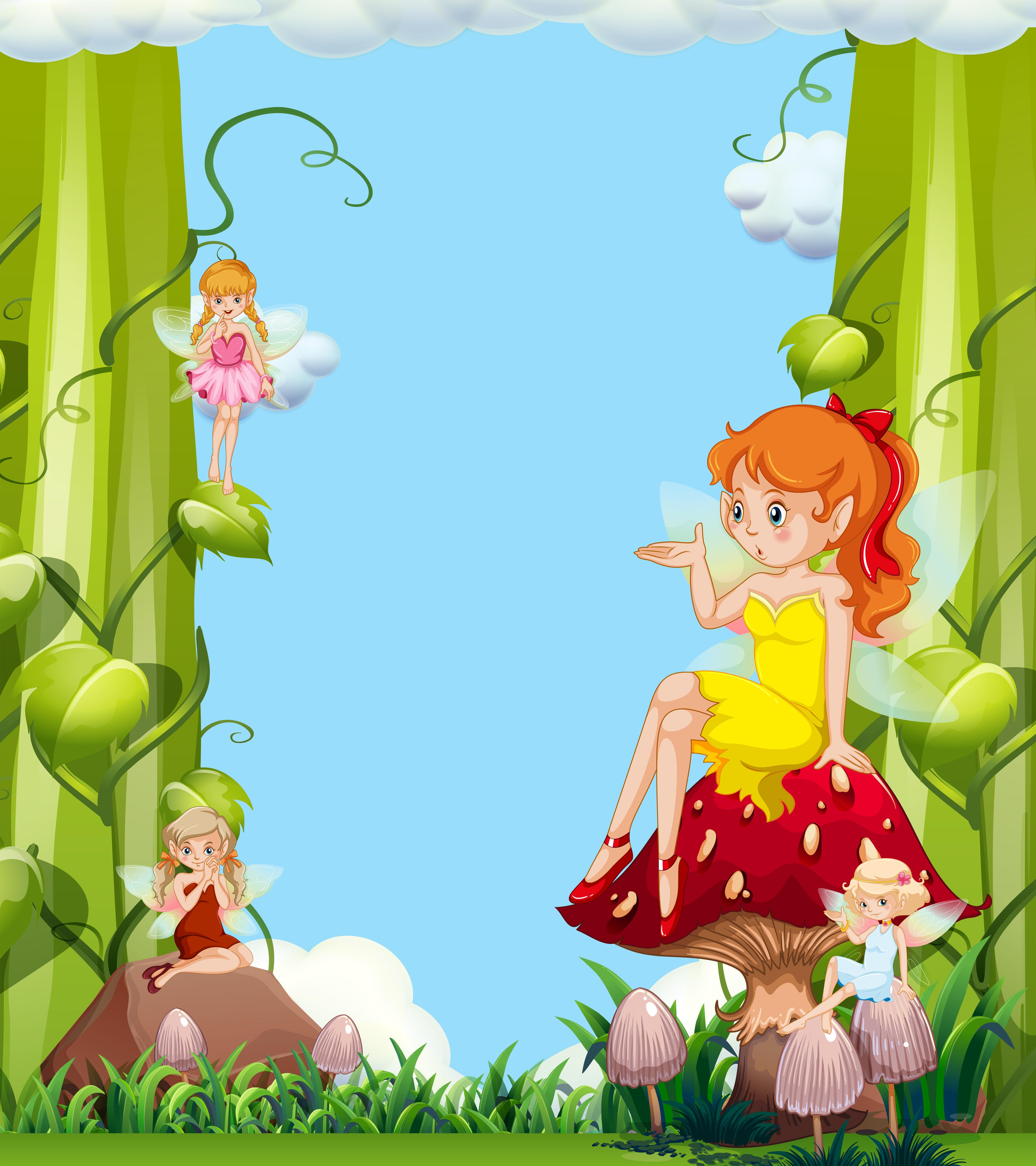 Garden Cute Cartoon: Cute Fairies In Mushroom Garden