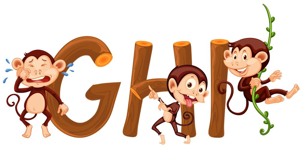 Scimmia e alfabeto inglese