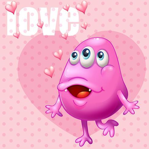 Sfondo romantico con amore mostro e parola rosa