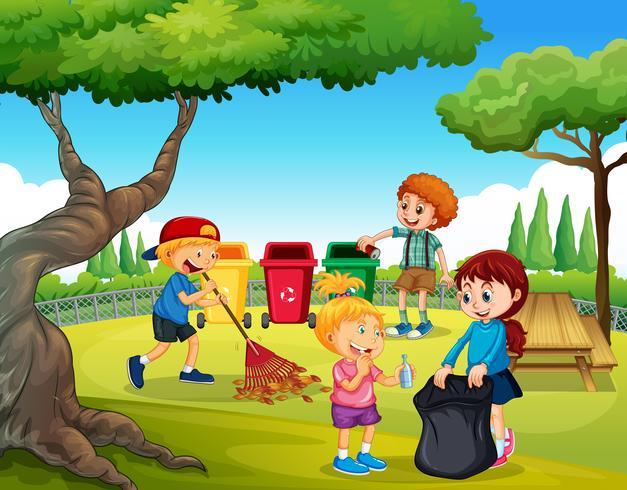 Un groupe d'enfants nettoyant le jardin