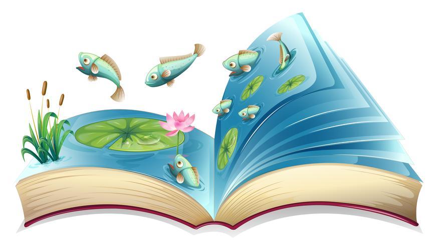 Libro abierto de peces en el estanque