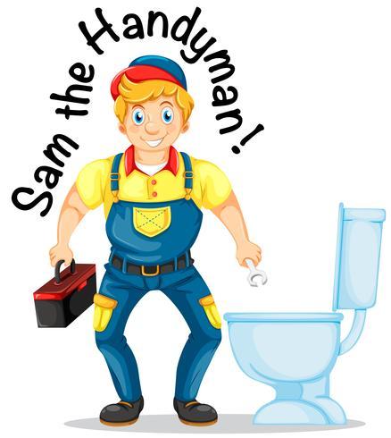 Sam le bricoleur en train de réparer les toilettes
