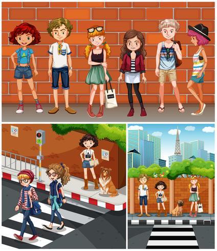 Scènes de quartier avec des adolescents