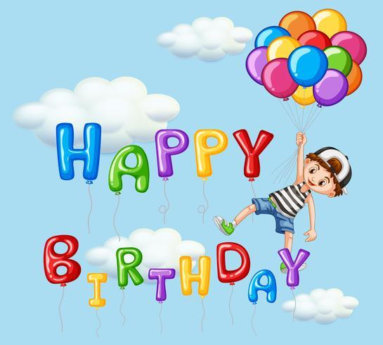 Cartão de feliz aniversário com menino e balões