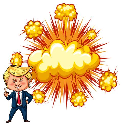 Amerikaanse president Trump met exploderende achtergrond