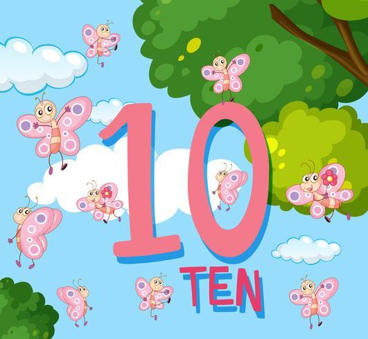 Räknar till nummer 10 med fjärilar vektor