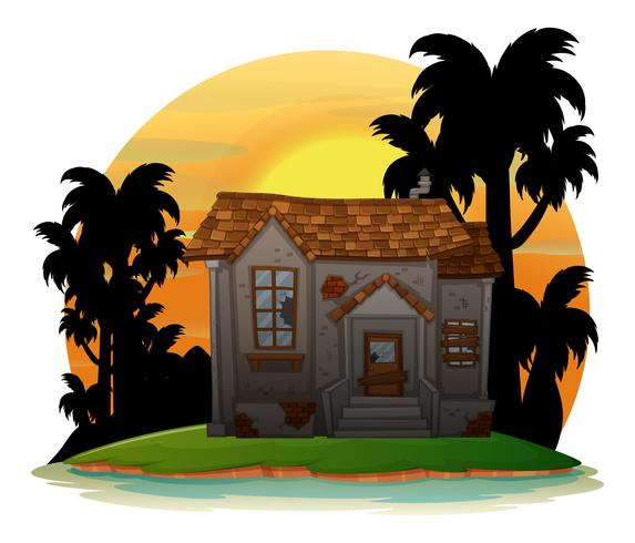 Vieille maison de brique sur l'île vecteur