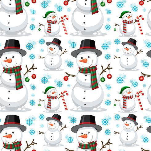 Padrão sem emenda de boneco de neve de Natal