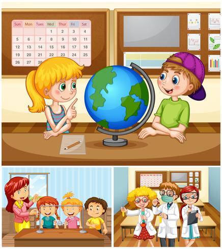 Barn lär sig i klassrummet med lärare