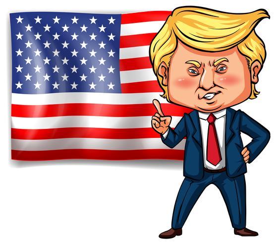 Presidente degli Stati Uniti Trump con bandiera americana sullo sfondo