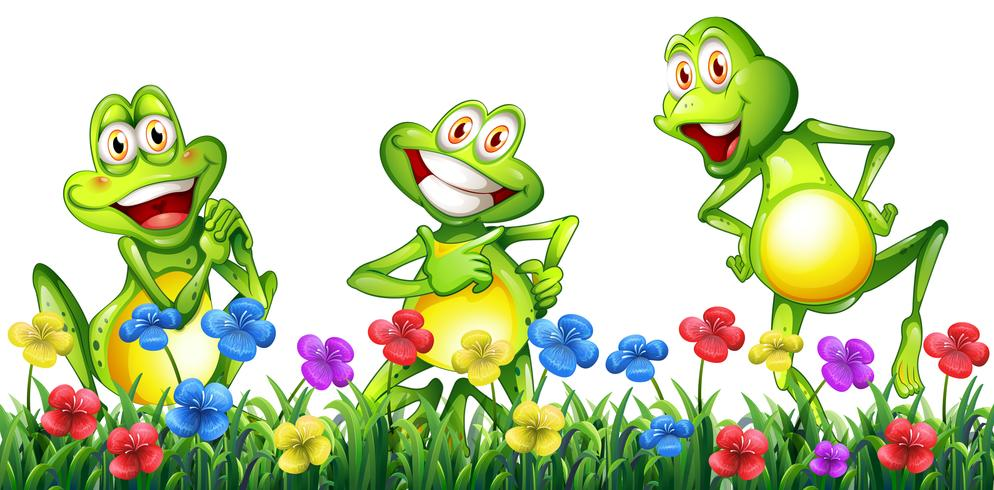 three happy frogs in flower garden download free vectors clipart graphics vector art three happy frogs in flower garden