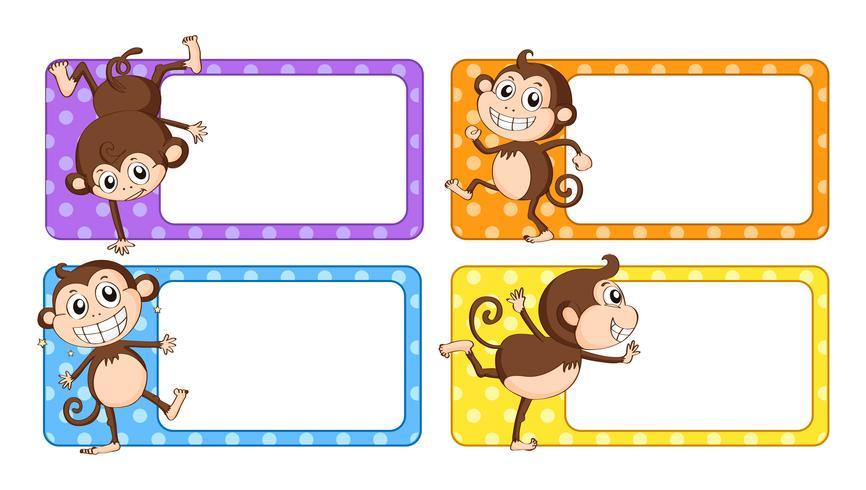 Etichette quadrate con scimmie