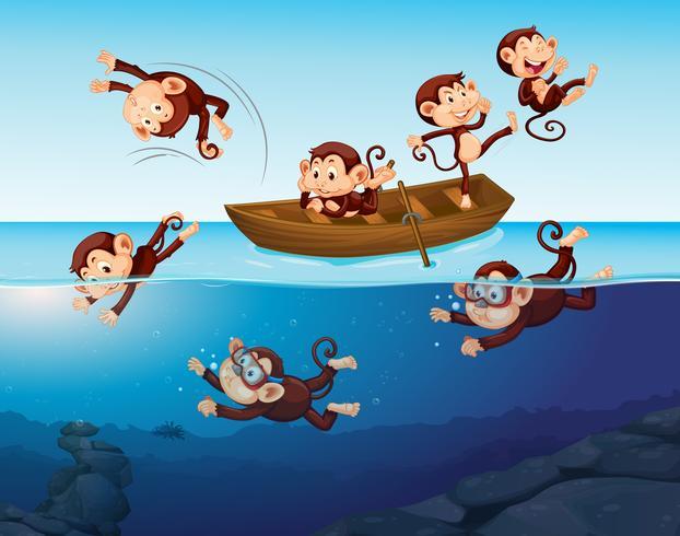 Mono divirtiéndose en el mar vector