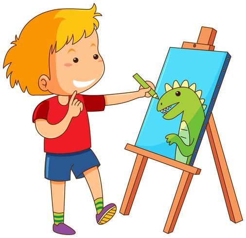 Garçon dessin dragon sur toile vecteur