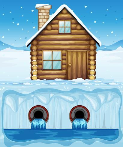 Uma cabana no Ártico e no tubo de água