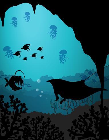 Schattenbildszene mit Meerestieren unter Wasser