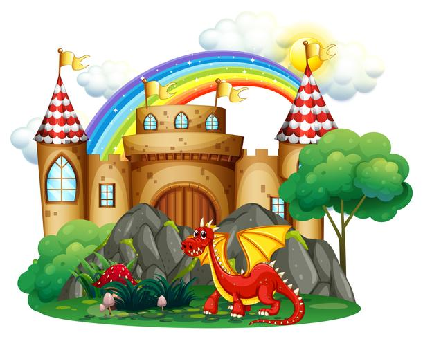 Red dragon at the castle tower